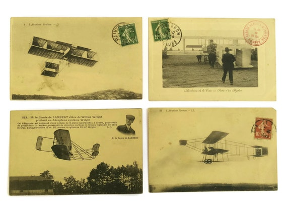 Antique Aviation Postcard Collection. French Antique Plane Photo Printed Post Cards. Gift For Pilot.
