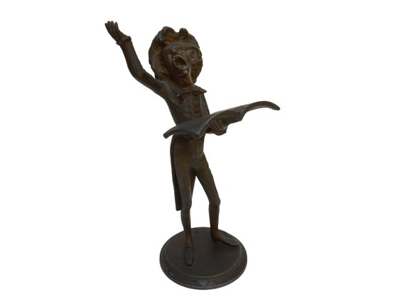 Antique French Opera Singer Figure Candle Holder by Francois George, Caricature Figural Candlestick