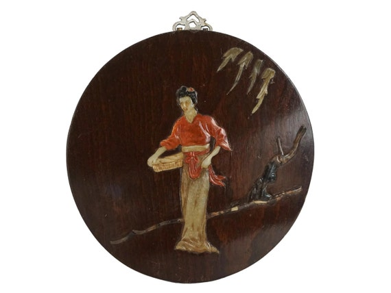 Japanese Carved Stone Inlay and Lacquer Wood Wall Hanging, Vintage Asian Art and Home Decor