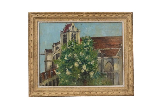 French Church and Tree Painting, Framed Original Architectural Art
