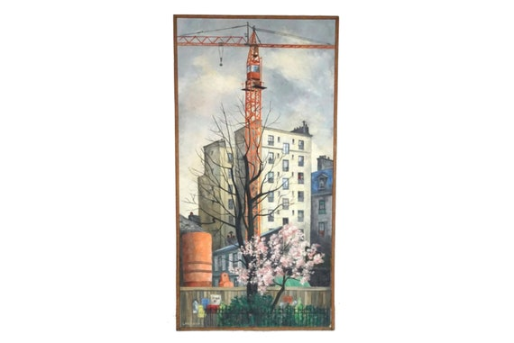 Paris Architecture Oil Painting with Construction Crane by Marie-Anne Lansiaux, Mid Century Industrial Art