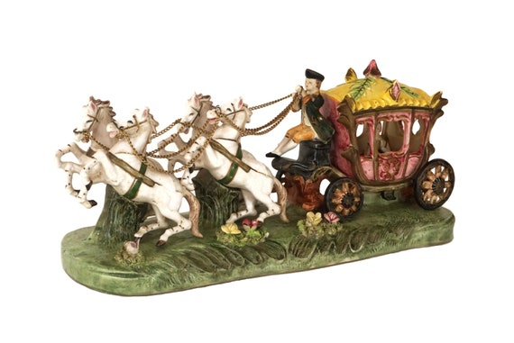 Vintage Ceramic Horse Carriage Figurine, Princess Cinderella Coach Statue, Girls Bedroom Decor
