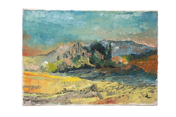 French Country Landscape Oil Painting with Mountain and Trees, Provence Art
