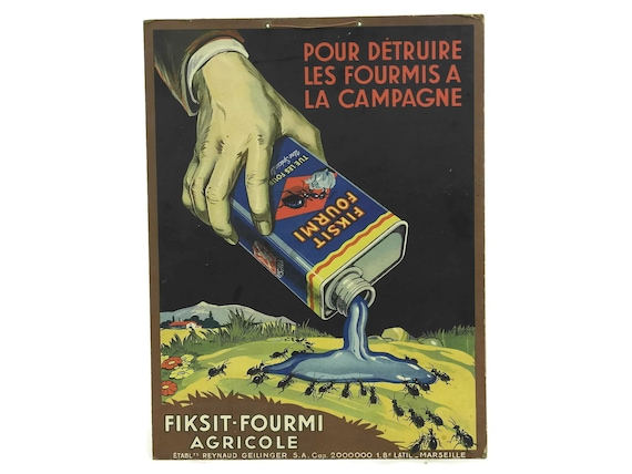Ant Killer Art Print Poster, Antique French Insecticide Advert Wall Hanging for Fiksit Fourmi
