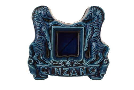 Vintage Cinzano Advertising Ashtray with Zebras, Mid Century Ceramic Coin Dish, Bar Decor and Gifts