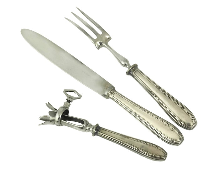 Ercuis Silver Meat Carving Set with Knife, Fork and Roast Clamp, French Art Deco Silverware
