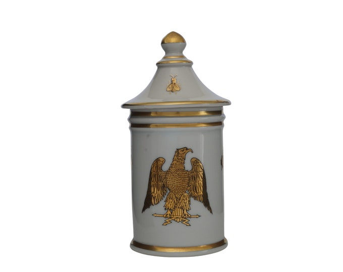 French Porcelain Apothecary Jar with Gold Bees and Imperial Eagle, Vintage Napoleon Ceramic Canister