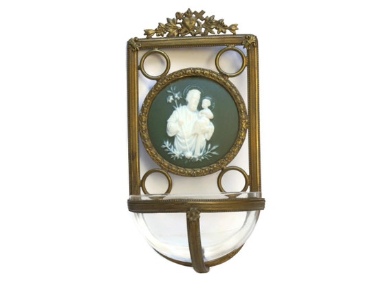 French Antique Holy Water Font with Green Jasperware Cameo of Saint Joseph & Jesus in Bronze Frame, Religious Gifts