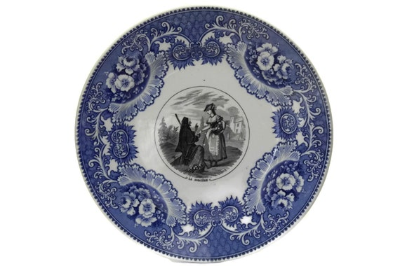 Antique Halloween Decor with Witch, Blue White China Transferware Plate