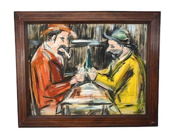 Card Players Painting, Mid Century French Men Portrait Art Inspired by Paul Cezanne