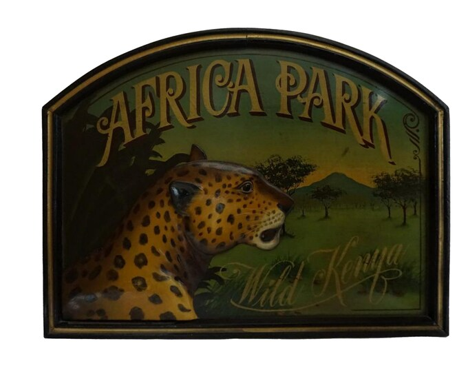 Africa Safari Travel Sign, Wild Animal Wall Decor, Leopard Portrait