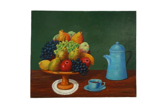 Fruit Still Life Oil Painting With Coffee Pot and Cup, Kitchen Wall Art