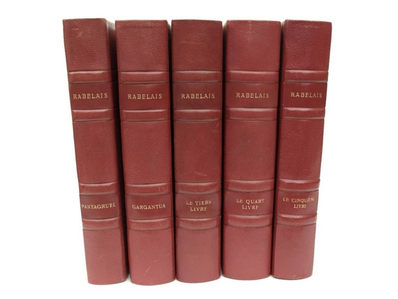 Rabelais Book Collection Complete Works, Antique Leather Bound Red Book Set, Decorative Books