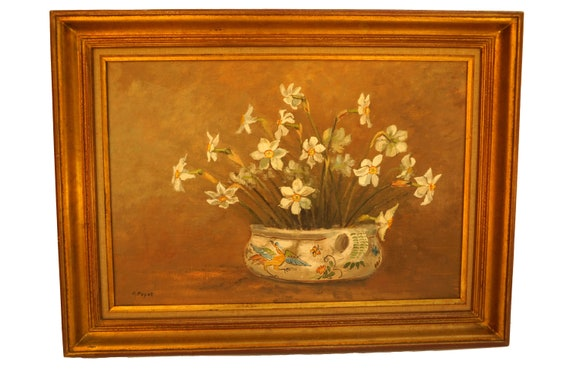 Vintage Daffodil Flower Bouquet Painting, Narcissus Floral Oil Still Life, Original Signed Wall Art