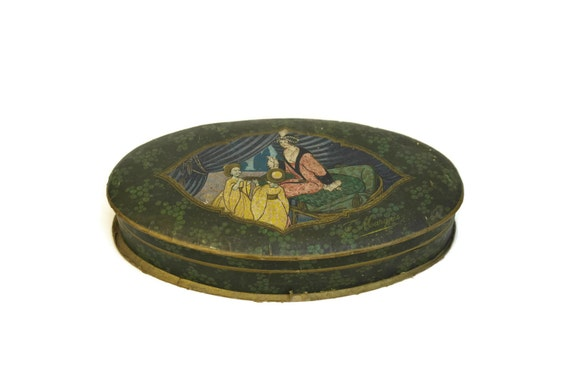 French Art Deco Bonbon Box, Antique Advertising Chocolate & Sweet Container