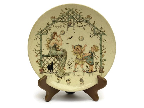 French Antique Sarreguemines Faience Plate by Froment Richard, Collectible Wall Plate, Nursery Decor