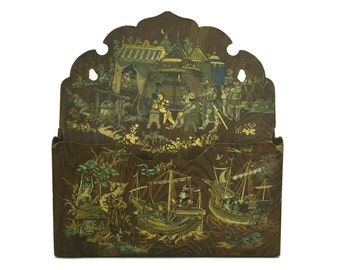 Antique Letter Holder. French Papier Mache Mail Organizer with Knight and Sailing Ship Illustration. Office Decor Gifts For Him.