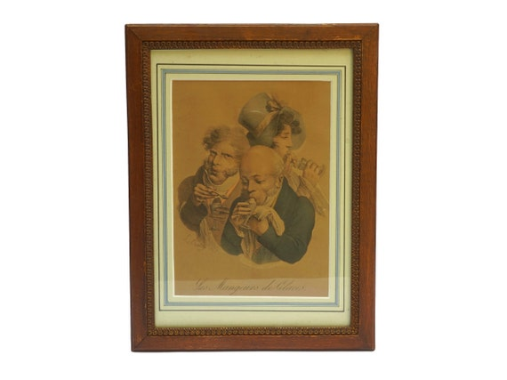 Antique Ice Cream Art Print Engraving, Framed French Caricature Portraits