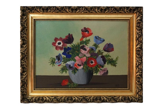 Anemone Still Life Oil Painting, French Country Floral Arrangement Art