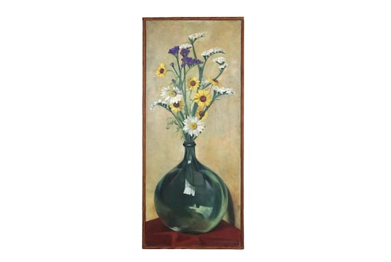 Field Flowers in Glass Wine Bottle Still Life Painting by Marie-Anne Lansiaux , French Floral Bouquet Art