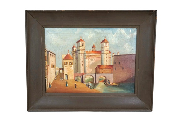 Antique Venice Italy Oil Painting, Italian Architectural Cityscape, Souvenir Original Art
