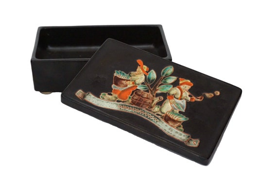 Mid Century Pottery Cigarette Holder Box by Karlsruhe Majolica, German Ceramic Smoking Collectible