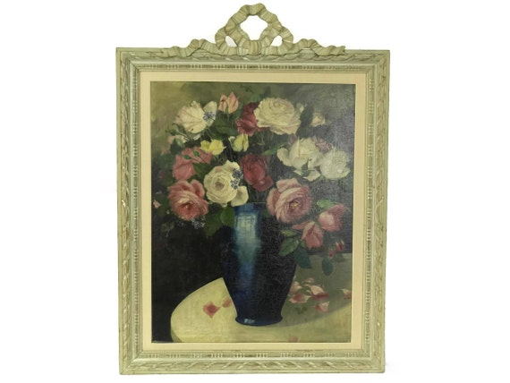 Pink Rose Flower Painting. Original Art Still Life Oil Painting. Antique French Framed Wall Art.