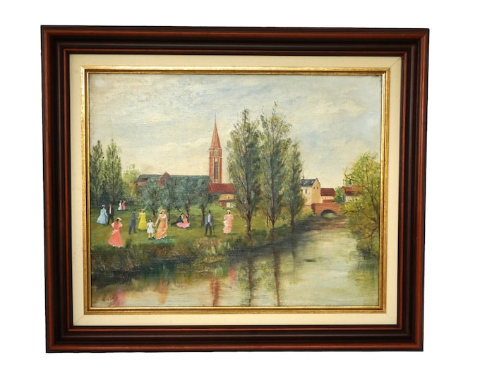 Item ref: French Country Landscape Painting with River, Church and Strolling People, Original Art