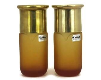 1970s VeArt Scorze Murano Glass Bottles with Brass Lids.