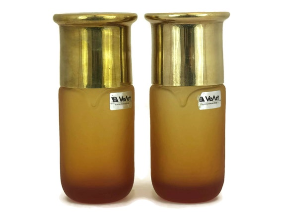 1970s VeArt Scorze Murano Glass Bottles with Brass Lids.