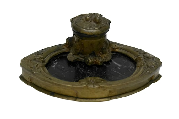 Art Nouveau Bronze Inkwell signed Albert MARIONNET, Antique French Gilt Ink Well