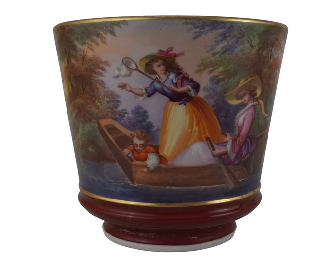 Antique French Porcelain Planter with Hand Painted Country Scene and Ladies in Canoe, 19th Century Cache Pot Jardiniere