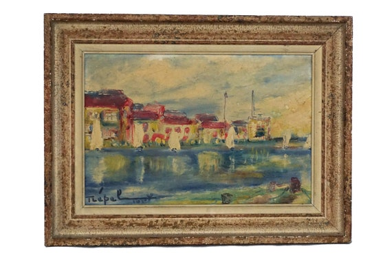 Harbor and Sailing Boat Painting, Original French Mediterranean Coastal Art Signed Georges Trepel