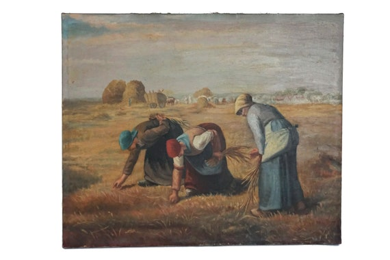 Antique French Country Oil Painting Reproduction of The Gleaners by Millet