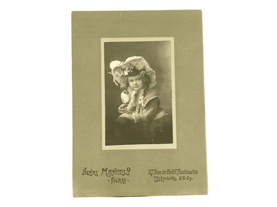 French Antique Photo of Girl with Bonnet. Victorian Child Portrait Picture. Antique Scrapbooking Card. Sepia Cabinet Card.