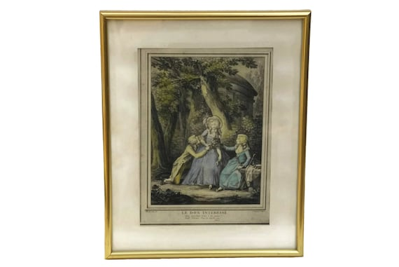 Antique French Romantic Colored Engraving, Framed Print of Le Don Intéressé by Boret and Voysard