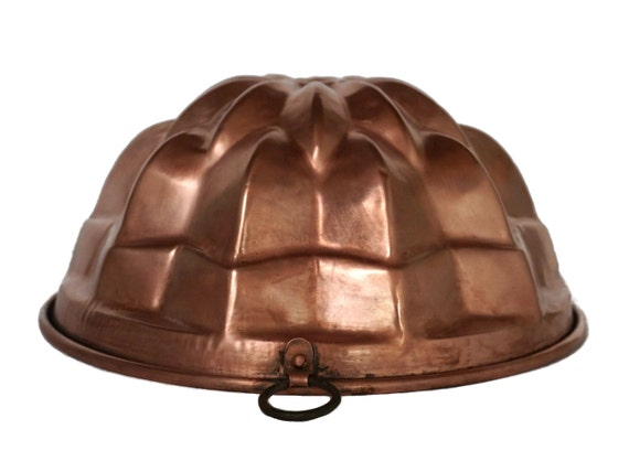 Antique French Copper Jelly Mold Cake Pan, Kitchen Copperware Wall Hanging Decor