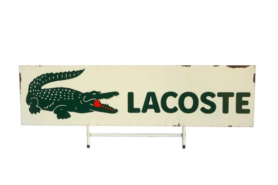 Vintage Lacoste Advertising Sign with Crocodile, French Fashion Collectible