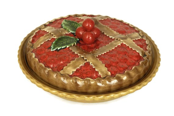 Majolica Cherry Pie Plate with Cover. Ceramic Fruit Tart Server and Keeper. Vintage Red Kitchen Decor. Gifts For Baker.