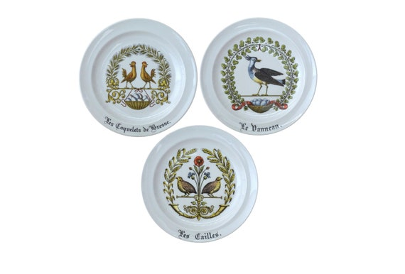 Limoges Porcelain d'Auteuil Plates with Poultry and Game Birds, Set of 3 in Chambord Pattern with Chicken, Quails and Lapwing