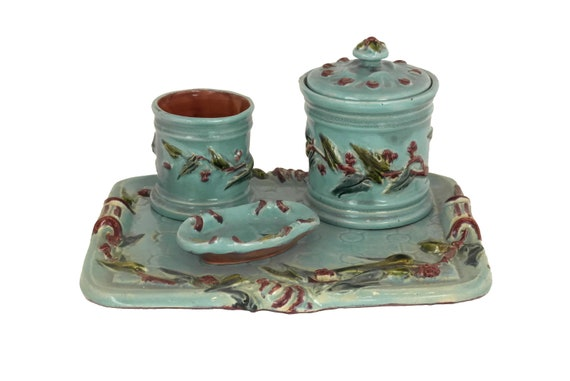 French Antique Majolica Tobacco Set, Ceramic Jar with Cigarette Holder, Ashtray and Platter, Desk Organizer