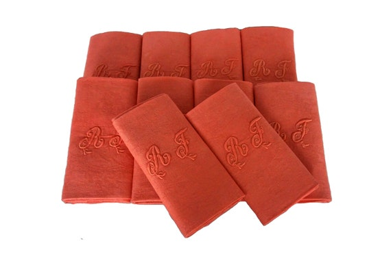 Antique French Linen Napkins, Set of 10 Coral Monogram Serviettes with Embroidered Initials R J
