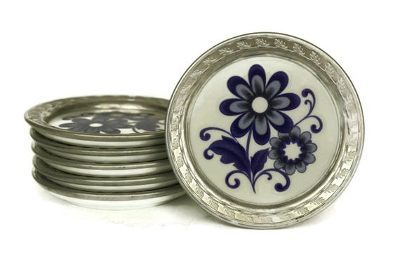 Cobalt Blue and White Porcelain Coasters, Set of 6 Ceramic Flower Drinks Mats, Vintage Echt Kobalt Barware Decor
