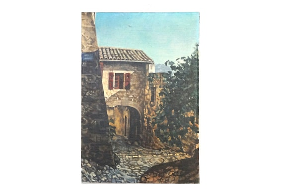 French Village and Stone House Painting, Original Rustic Country Art