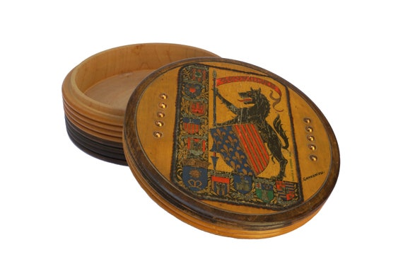French Heraldic Coat of Arms Box with Beast of Gevaudan, Werewolf Art Print