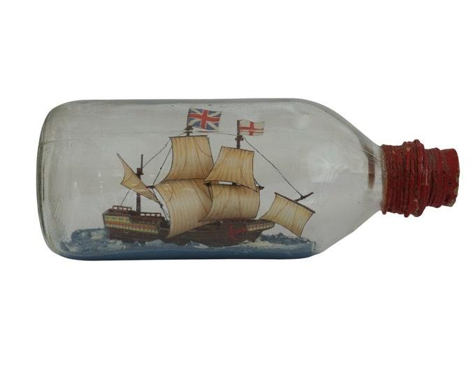 Vintage Ship Model in a Bottle, Nautical Decor, English Three Masted Sailing Ship Model