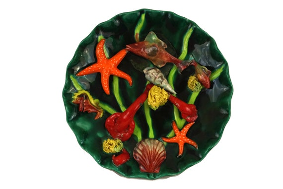 French Majolica Fish Palissy Plate, Large Mid Century Ceramic Wall Plate with Green and Orange Seafood, Beach House and Coastal Decor