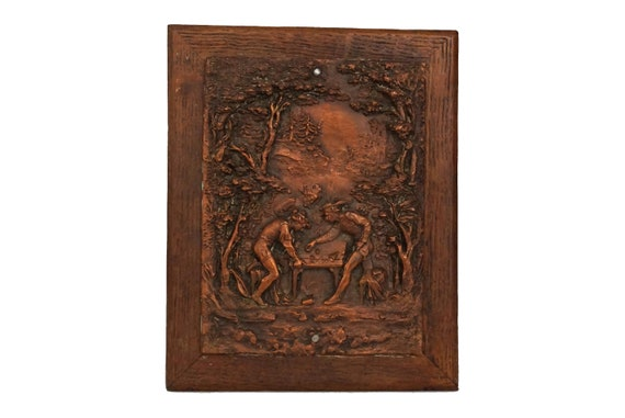 Antique Copper Bas Relief Hanging Plaque, German Wall Art with Dice Players in Forest