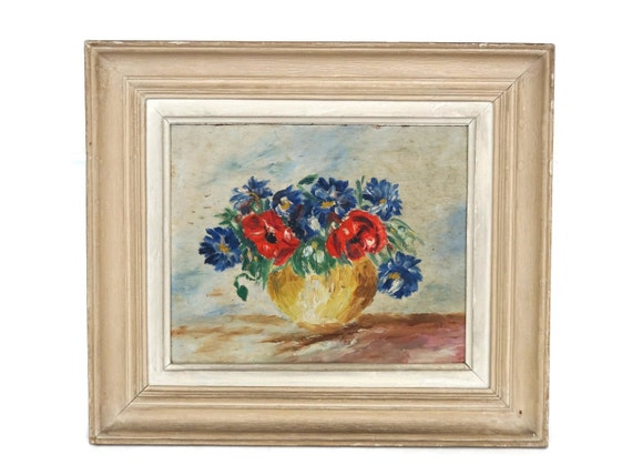 Flower Still Life Oil Painting, French Country Floral Arrangement Art with Poppies and Cornflowers