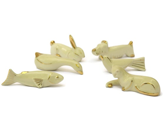 Art Deco Animal Figure Knife Rests, Vintage Limoges Porcelain, Set of 12 Cream and Gold French Cutlery Holders